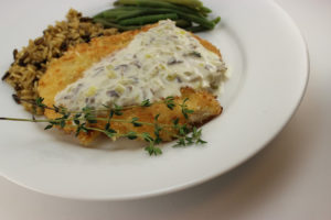 Panko Chicken with Champagne Sauce