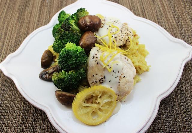 Chicken with Lemons, Broccoli and Alfredo Sauce