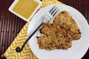 Pretzel Crusted Chicken with Honey Mustard