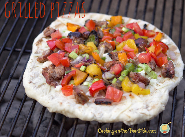 Grilled Pizza with veggies and sausage | Cooking On The Front Burner