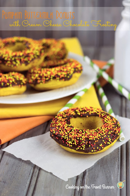 Pumpkin Donuts with Chocolate Cream Cheese Frosting   Cooking on the Front Burner