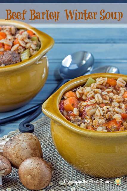Beef Barley Winter Soup | Cooking on the Front Burner #Beefsoup #wintersoup