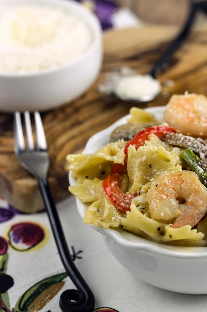 Shimp and Veggies with Bowtie Pasta | Cooking on the Front Burner #italian