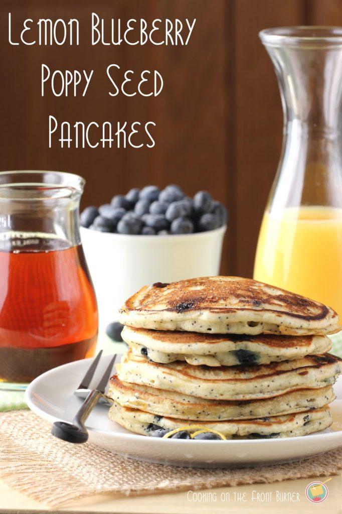 Lemon Blueberry Poppy Seed Pancakes - light and fluffy pancakes perfect for breakfast for brunch | Cooking on the Front Burner #pancakes #lemonblueberrypancakes