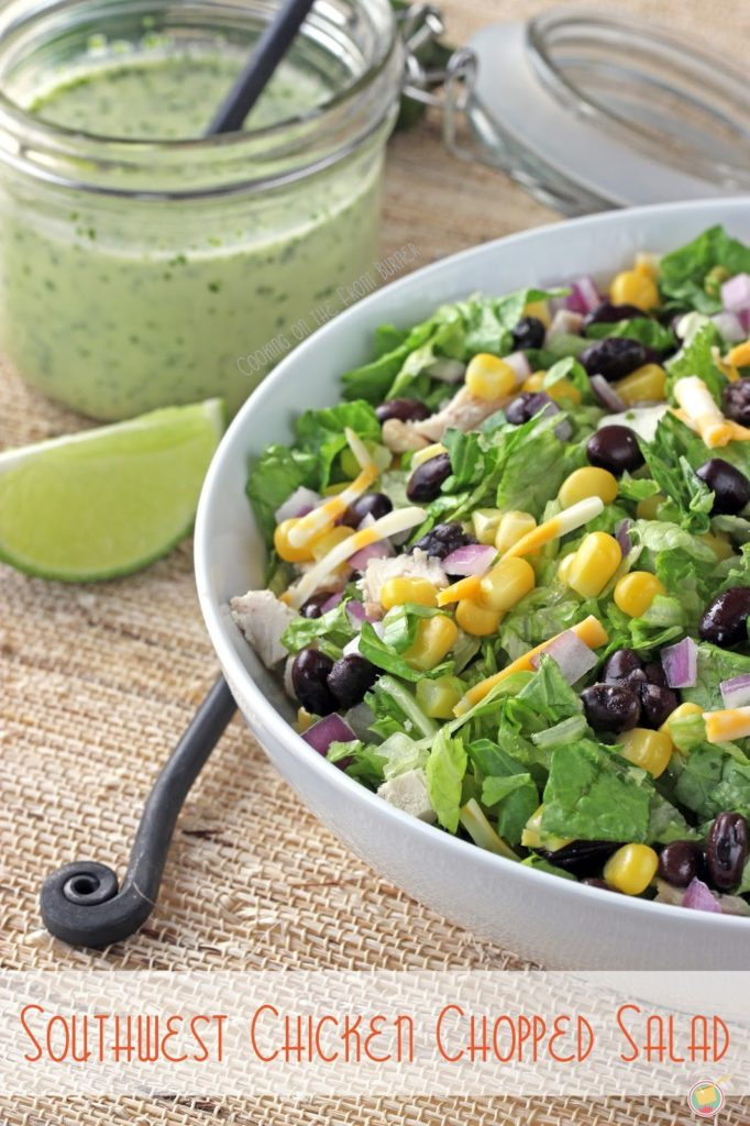 Southwest Chicken Chopped Salad - full of fresh flavor with a creamy jalapeno dressing   Cooking on the Front Burner #southwestsalad #jalapenosaladdressing