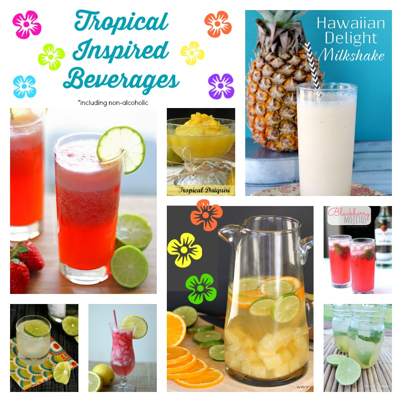 Tropical Inspired Beverages | Cooking on the Front Burner #cocktails #mocktails #tropicaldrinks