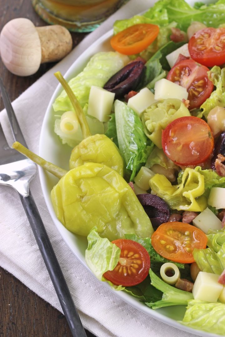 bowl pasta with lettuce tomatoes