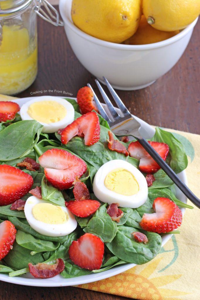 Lemon Parmesan Salad Dressing | Cooking on the Front Burner #spinachsalad #strawberries