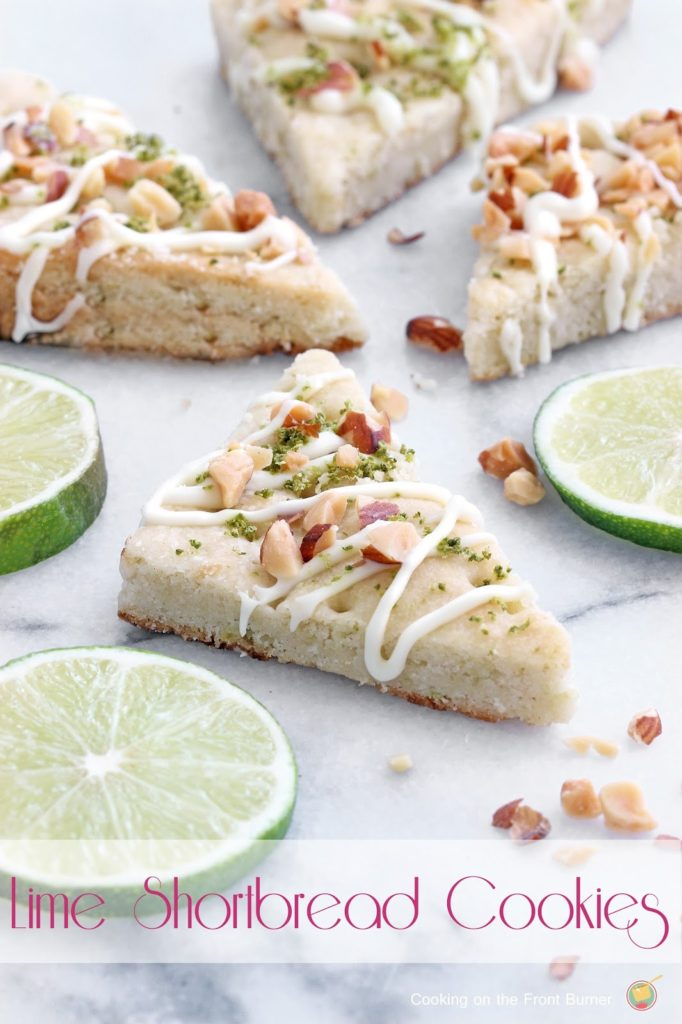 Lime Shortbread Cookies  - a delicate cookie with a drizzle of white chocolate, lime zest and toasted almonds | Cooking on the Front Burner #dessert