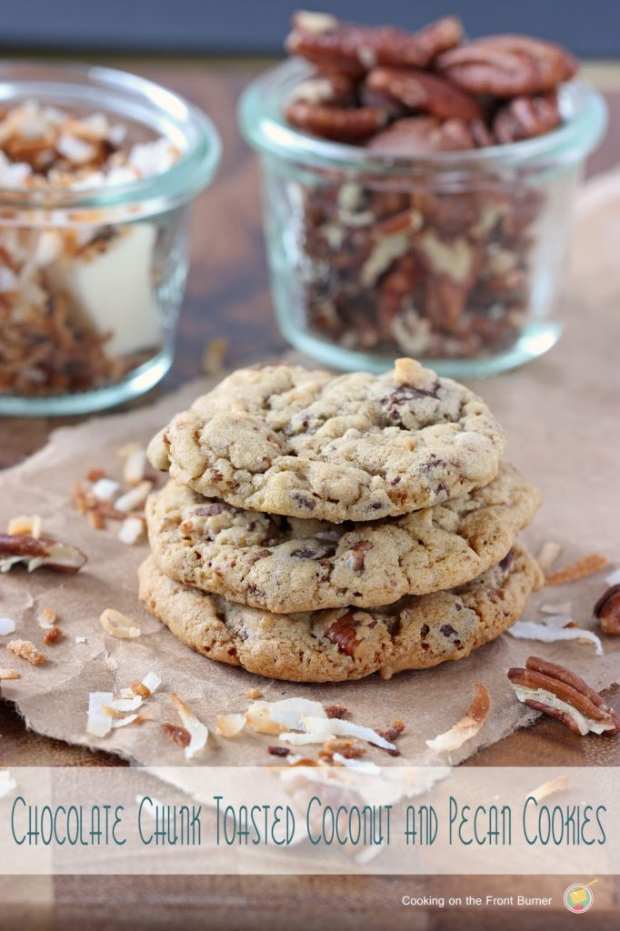 Chocolate Chunk Toasted Coconut and Pecan Cookies | Cooking on the Front Burner #dessert