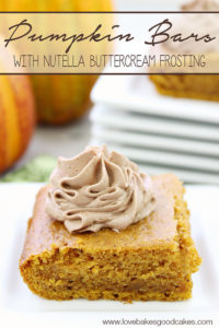 Pumpkin Bars with Nutella Buttercream Frosting