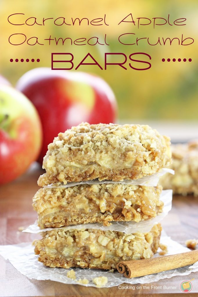 Caramel Apple Oatmeal Crumb Bars | Cooking on the Front Burner
