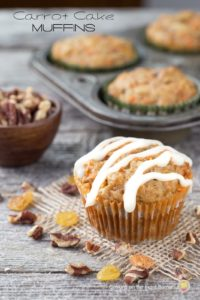 Carrot Cake Muffins-Cream Cheese Glaze