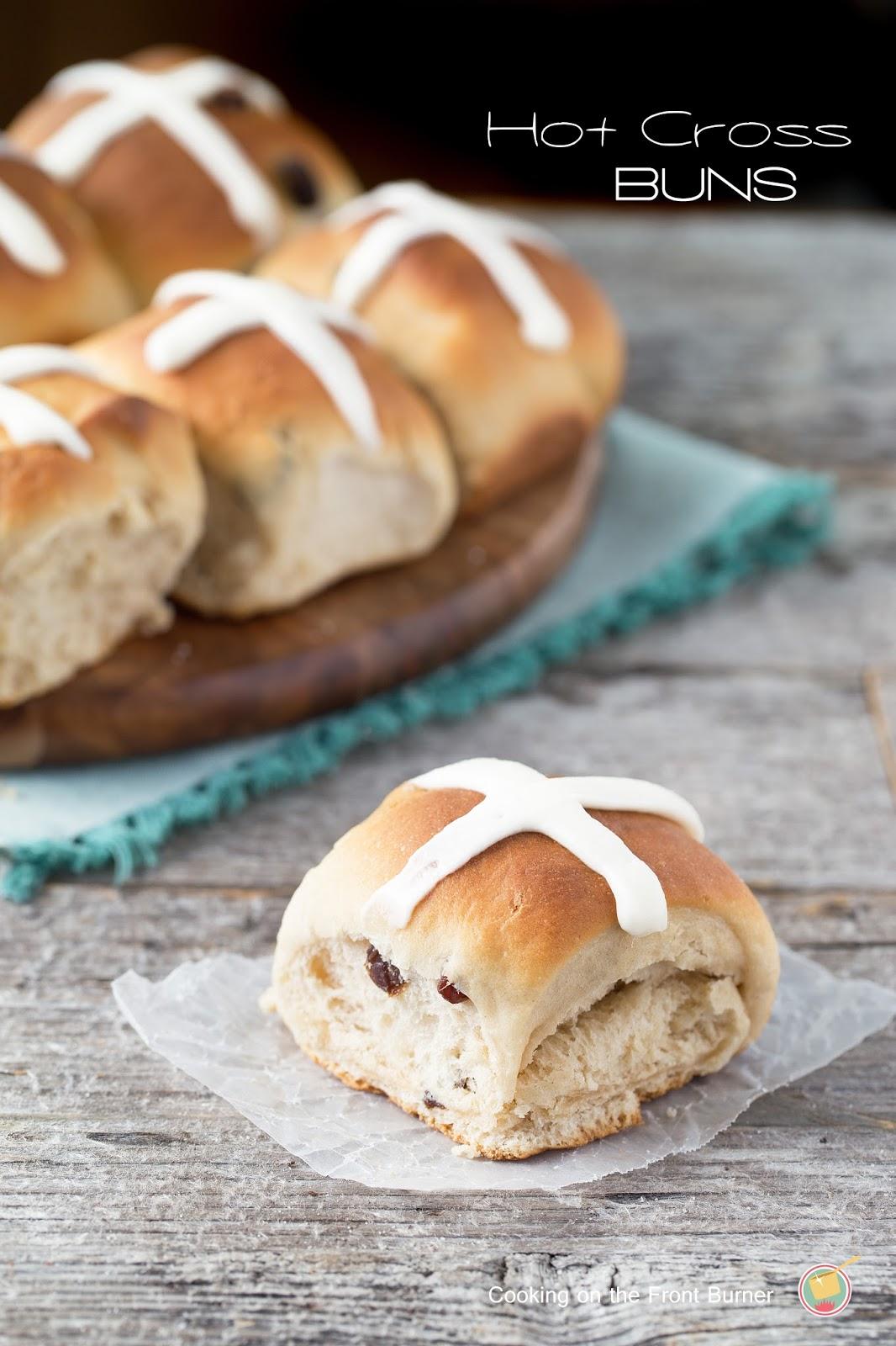 hot cross bun on a board