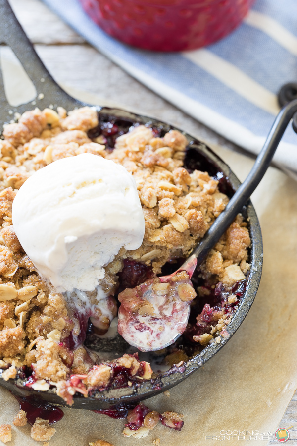 Fresh Cherry Crisp a la mode | Cooking on the Front Burner