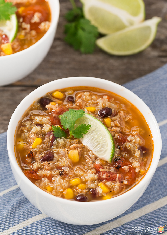 Southwest Chicken Quinoa Soup | Cooking on the Front Burner