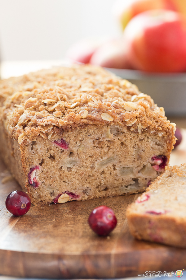 Apple Cranberry Bread with Streusel | Cooking on the Front Burner