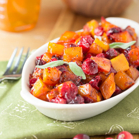 Roasted Butternut Squash with Cranbrries