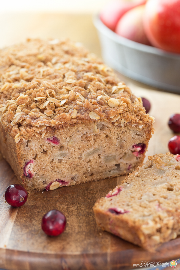 Apple and Cranberry Bread with Streusel | Cooking on the Front Burner