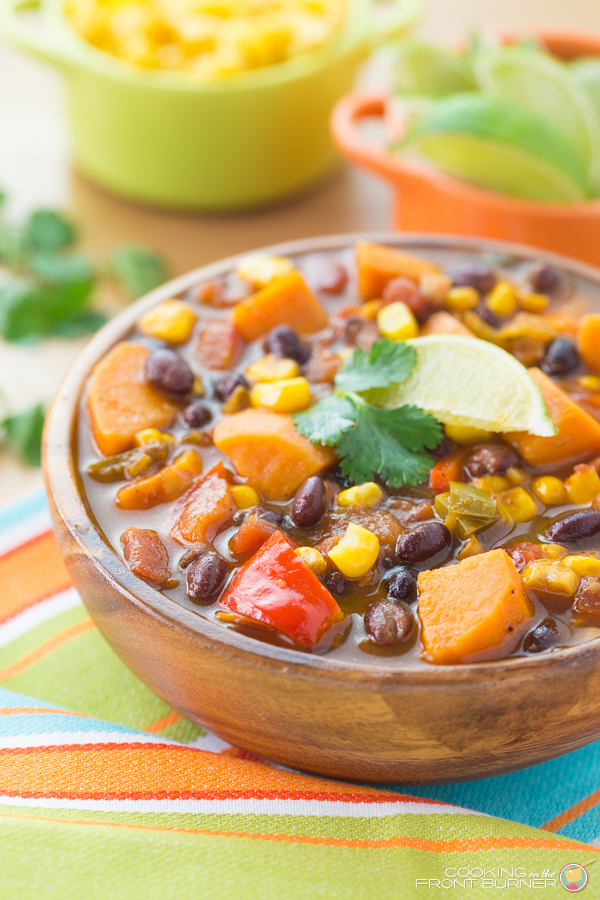 Sweet Potato Black Bean Soup Cooking On The Front Burner