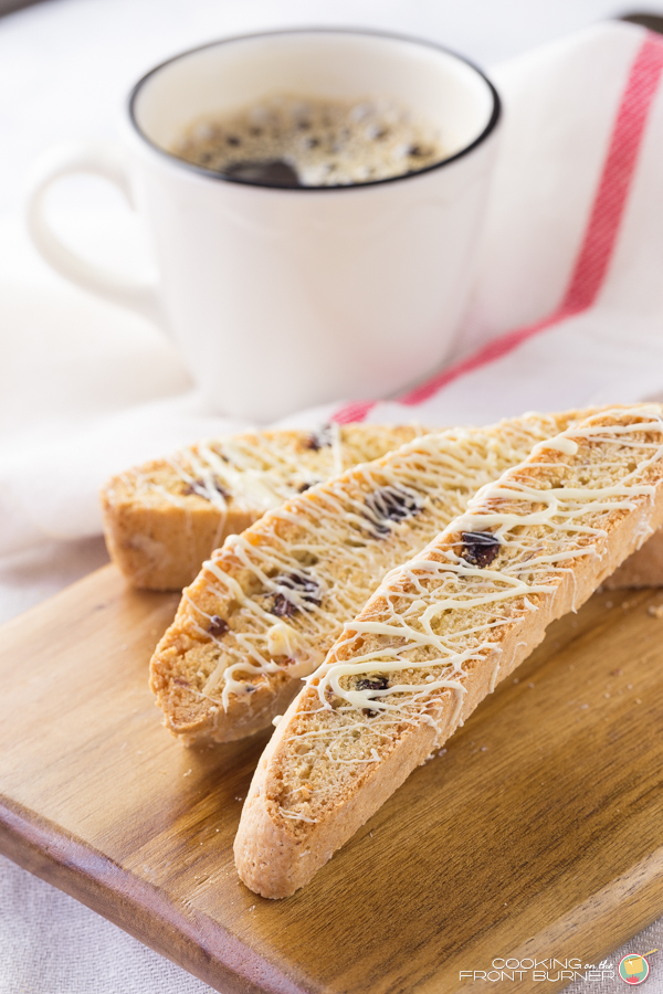 Cherry Almond White Chocolate Biscotti | Cooking on the Front Burner