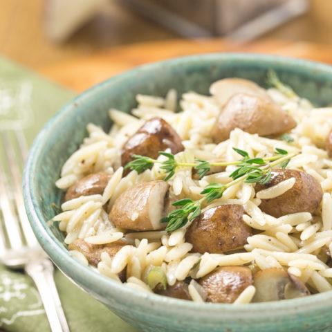 Quick Mushroom Orzo Pasta