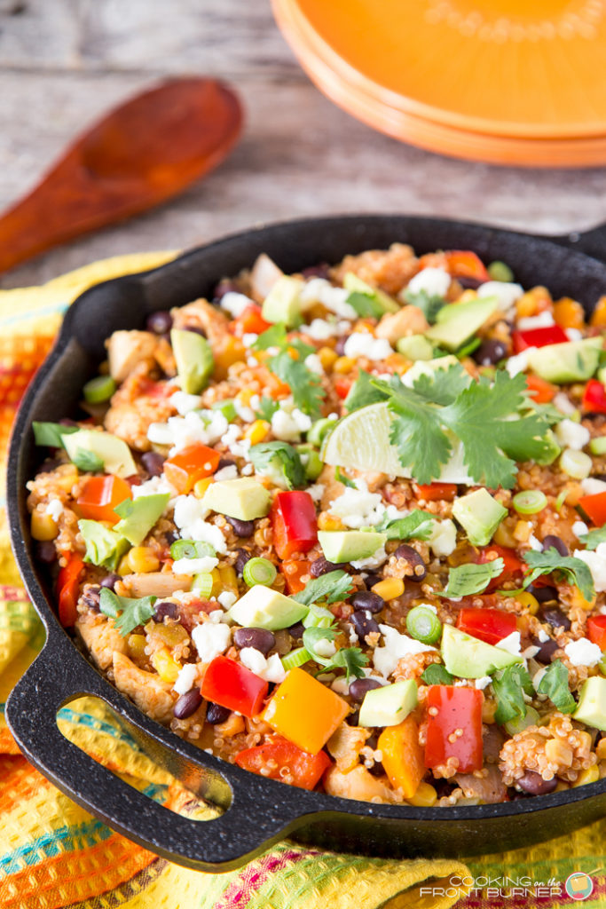 This Mexican Quinoa Skillet Dinner recipe is full of fresh, flavorful ingredients. A one pan meal in about 35 minutes!