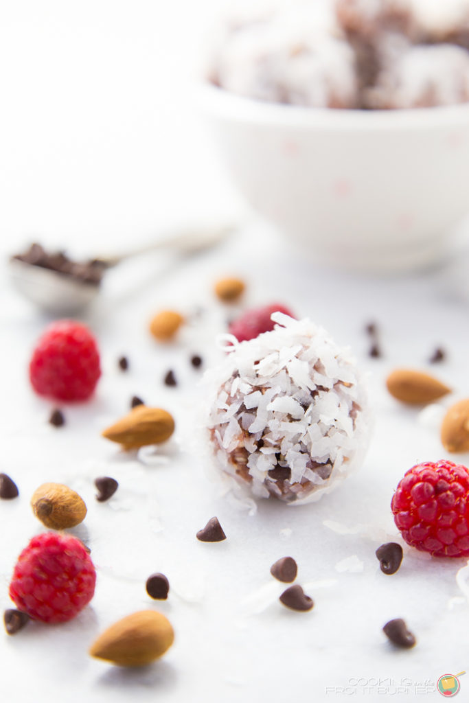 Raspberry Coconut Energy Bites | Cooking on the Front Burner