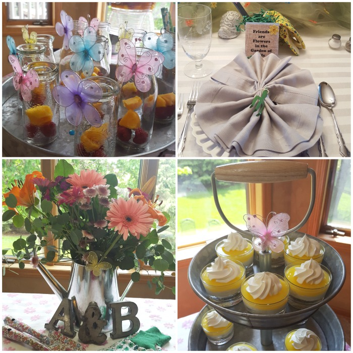 Bridal shower decorations and food