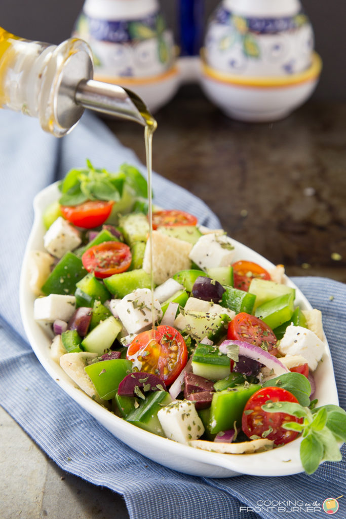 Chopped Greek Panzanella Salad | Cooking on the Front Burner