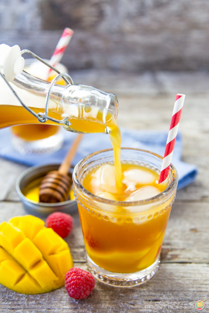 Raspberry Mango Iced Tea with honey