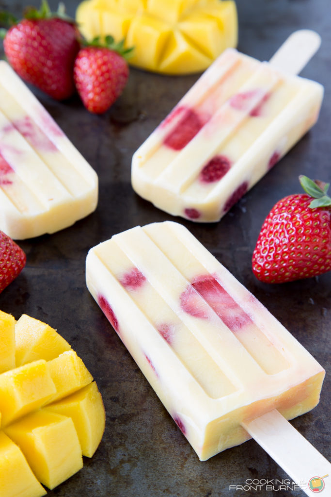 Mango Strawberry Yogurt Popsicles | Cooking on the Front Burner