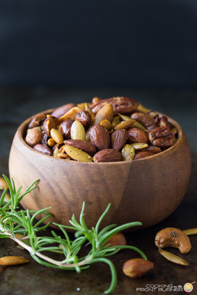 Rosemary Spiced Mixed Nuts are a great recipe to have on hand - so easy and simple!