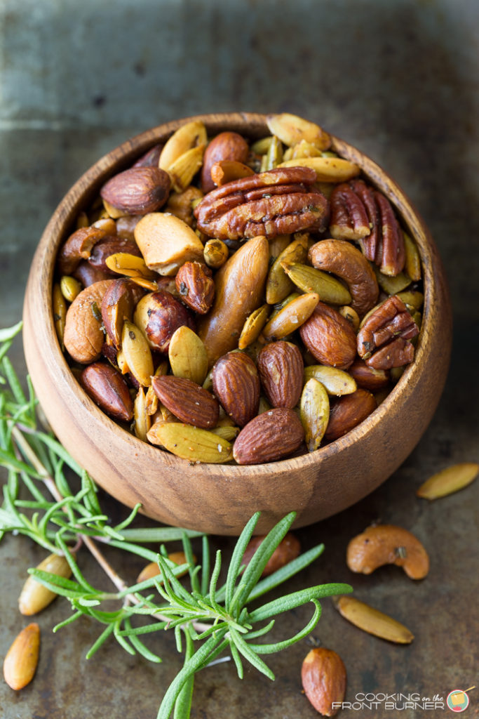 Mixed nuts are a delicious snack and a great source of protein! This homemade rosemary spiced mixed nuts recipe makes an easy homemade food gift for the holidays.