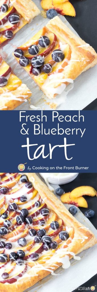 This delightful recipe is a light and flaky puffed pastry topped with fresh peaches, blueberries and creamy vanilla glaze.