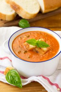 FRESH TOMATO BASIL SOUP WITH FETA