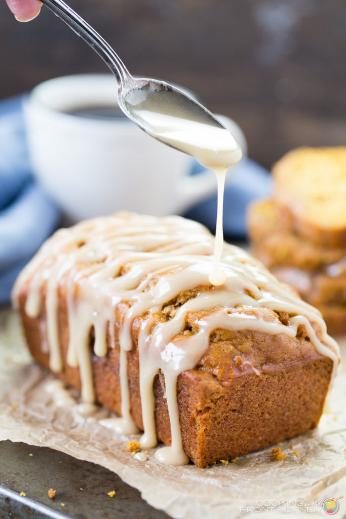 easy pumpkin banana nut quick bread with a drizzle of maple glaze