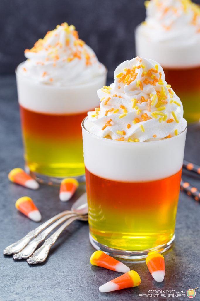 These candy corn jello cups are a light snack perfect for a Halloween party or an after school snack!