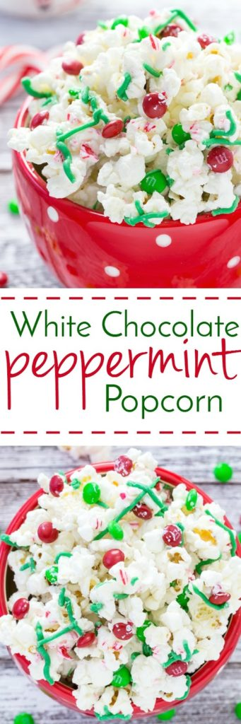 Holiday White Chocolate Peppermint Popcorn