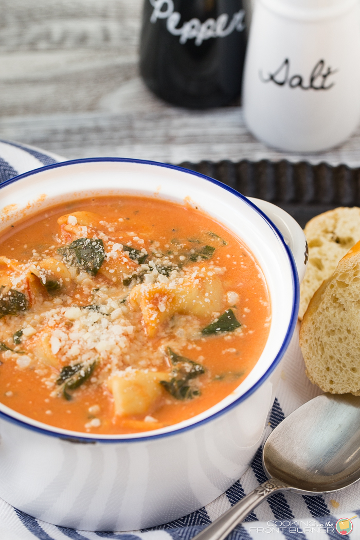 Creamy Tomato Spinach Tortellini Soup Cooking On The