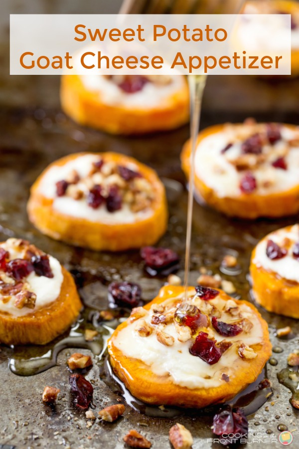 Jazz up your holiday table with these Sweet Potato and Goat Cheese Rounds that are topped with craisins, pecans and drizzled with honey!  Sure to become a family favorite! #appetizer #thanksgiving #sweetpotato #honey #goatcheese
