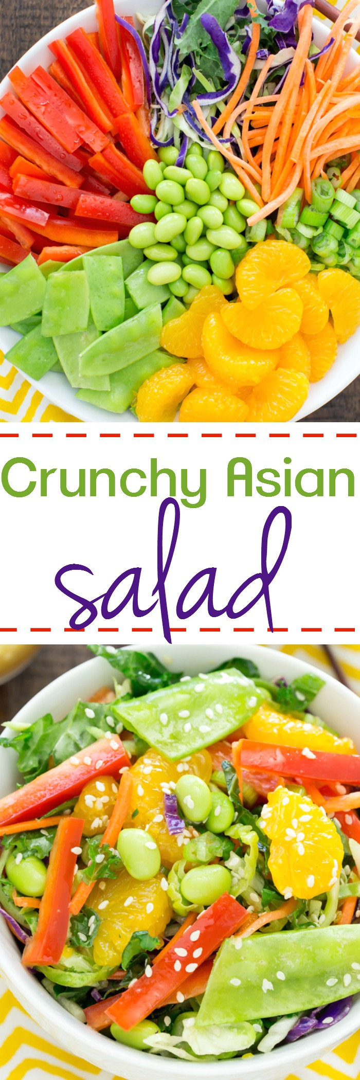 Crunchy Asian Salad is a flavor explosion in your mouth with red peppers, carrots, snow peas, edamame, and sweet oranges nestled on a kale broccoli mixture, drizzled with a sesame ginger dressing.