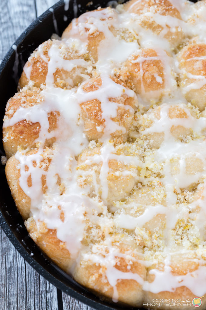 Lemon pull apart rolls are made and served in one skillet! Perfect for breakfast, brunch, Easter, Mother's Day and more!