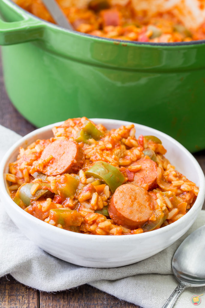 Easy one pot jambalaya comes together quickly and is a classic Louisiana dish. This jambalaya recipe is full of flavor, with chicken, sausage, rice and the right amount of spice!