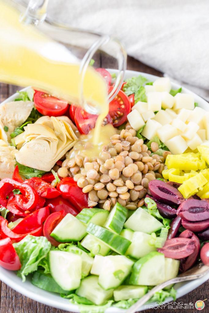 Healthy Italian Lentil Chopped Salad #SpringCleanse #LoveALentil #ad