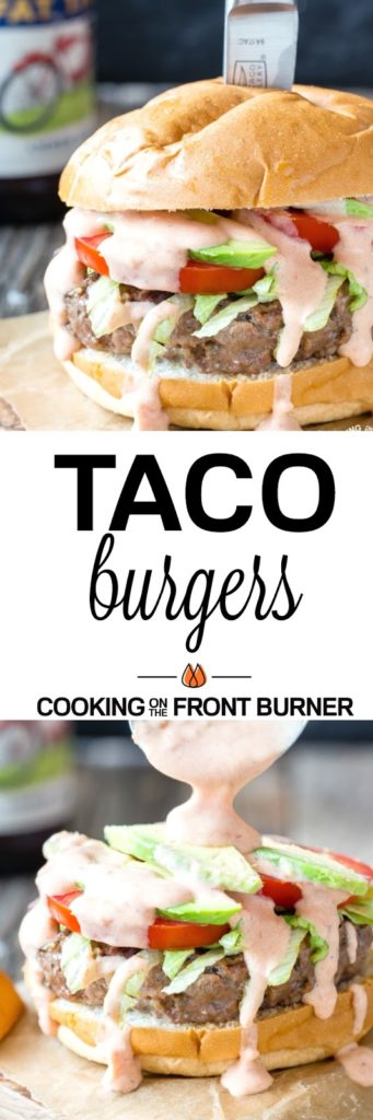 Fire up the grill and cook these Taco Burgers that are loaded with your favorite Mexican flavors. These are sure to be a hit this summer!