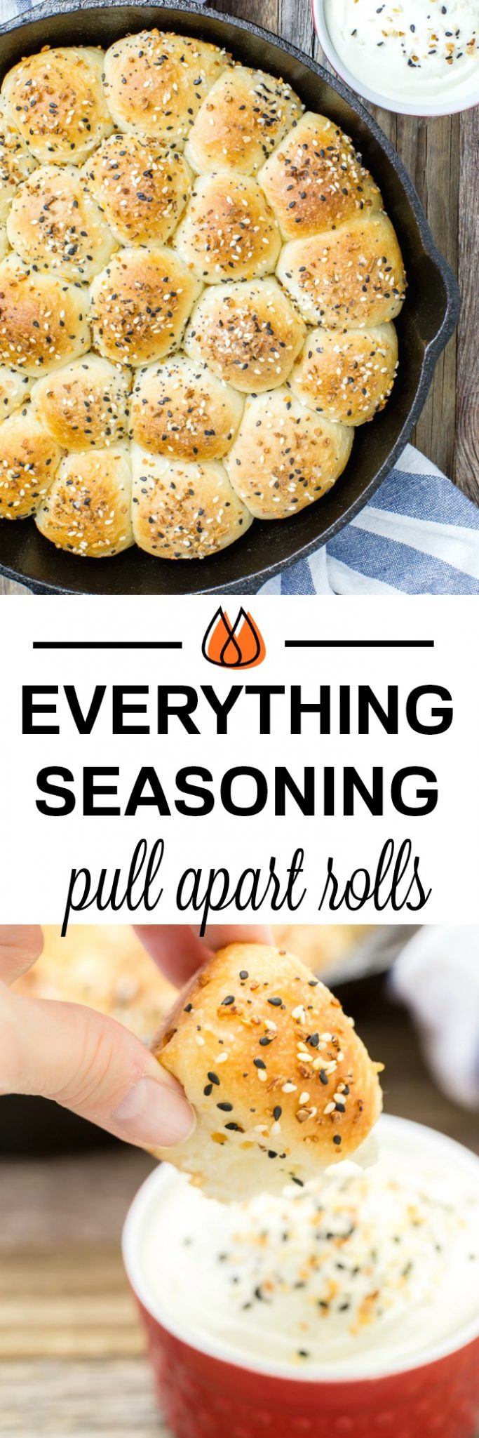 Make these easy everything seasoning pull apart rolls with a creamy cream cheese dipping sauce. It's like your favorite bagel but much easier to make at home!