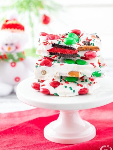 Need a last minute gift or a fun snack for yourself? If so, you will want to keep this Easy Christmas Bark Recipe on hand. It is loaded with sweet and salty ingredients for a perfect combo!