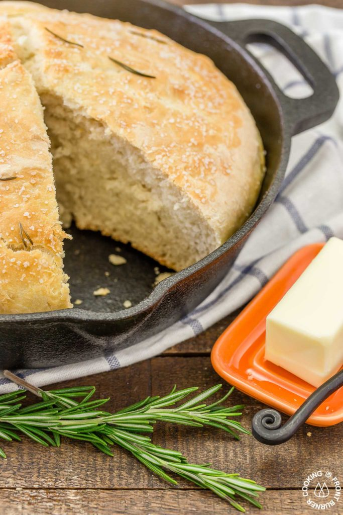 This No Knead Skillet Bread is the easiest around town with only four ingredients.  Start it mid-afternoon and serve it with your favorite meal tonight!