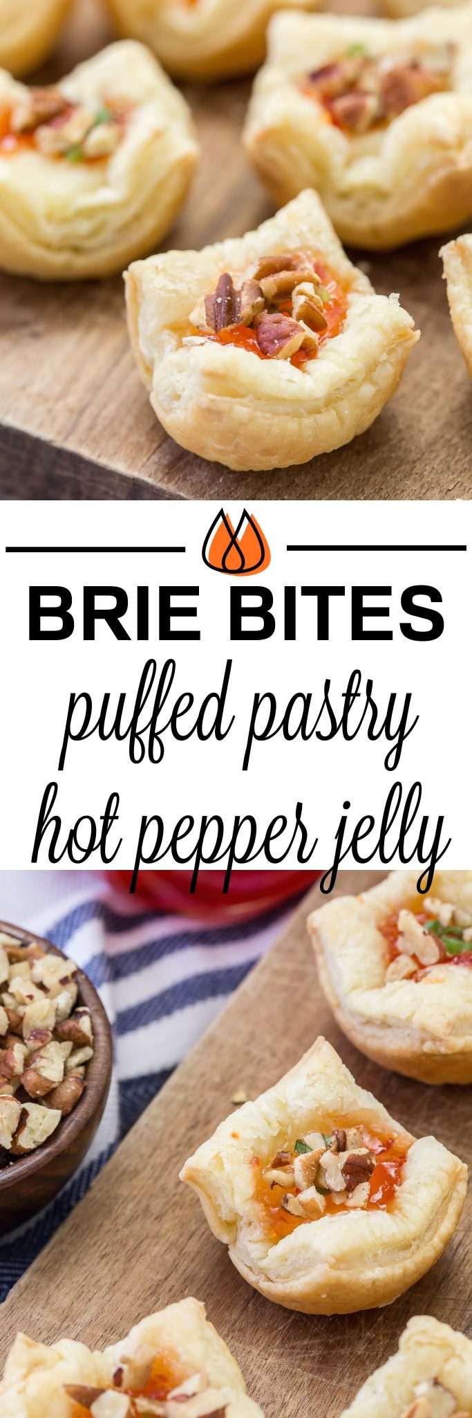 These Brie Pepper Jelly Bites are a great recipe to have on hand for the holidays!  You will love the flaky crust with brie and pepper jelly nestled inside.  #appetizer #puffedpastry #brie